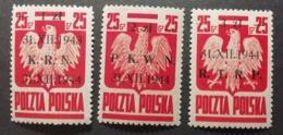 Pologne 1944 / Yvert N°434-436 / ** / Série Courante Surchargée - Neufs