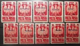 Pologne 1945 / Yvert N°439 / ** / Série Courante 10 Valeurs Surchargées - Ungebraucht