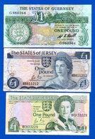 Jeresy  2  Billets   Guernsey  1  Billet - Jersey
