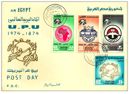 Egypt - 1974 - FDC - ( UPU - Post Day ) - Complete Set Of 4 - Egypt