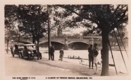Melbourne Australia, Princes Bridge, Rowing Crews, Auto, C1920s Vintage Rose #P 1076 Real Photo Postcard - Melbourne
