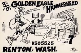 QSL Card, Risque Humor Semi-nude, Renton Washington Location, Golden Eagle & Hammerhead - Radio Amatoriale