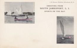 South Jamesport Long Island New York, Sailboats Sailing Theme Greetings From On C1900s Vintage Postcard - Long Island