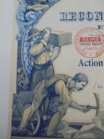 FRANCE - PARIS 1919 - RECONSTRUCTION DE REIMS ET DES PAYS DEVASTES - ACTION DE 500 FRS - IMPRIMERIE RICHARD - BELLE DECO - Shareholdings
