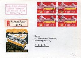 LETTRE RECOMMANDEE 1ER JOUR SUISSE 1953 - BUREAU DE POSTE AUTOMOBILE - POSTES ALPESTRES - - Bus