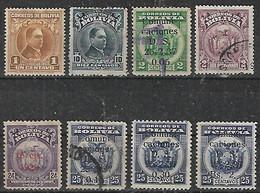 """1937 Bolivia Escudos Sobresellados """"15 Cent."""" Y """"comunicaciones""""-personajes 8v. - Bolivien"""
