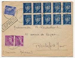 Enveloppe - Affr. Composé 70c Pétain Bersier X10 + 10c Mercure + 20c Mercure X2 EXPRES - Couderan / Gironde 1942 - 1941-42 Pétain