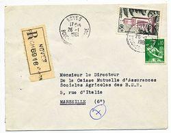 BOUCHES DU RHONE ENV 1961 NOVES LETTRE RECOMMANDEE - Marcophilie (Lettres)