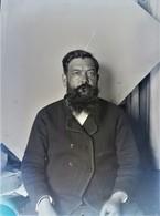Rare Photo Plaque De Verre Format 9 X 12 Cm Homme à La Barbe - Glasdias