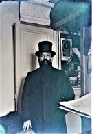 Rare Photo Plaque De Verre Négative Format 9 X 12 Cm Homme à La Barbe Et Chapeau Haut De Forme - Glasplaten
