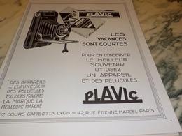 ANCIENNE PUBLICITE LES VACANCES SON COURTE PLAVIC   1927 - Fotografia