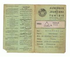 Carte D'hébergement Dans Les Auberges De Jeunesse De Tunisie, Tourisme, Voyage, Vacances,...1951 (b274) - Vecchi Documenti