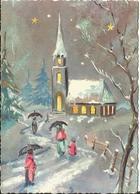MIGNONNETTE ILLUSTRATEUR  W JOYEUX NOEL MIGNONNETTE BONNE ANNEE  1965  COUPLE  PARAPLUIE NEIGE SAPIN EGLISE - Noël