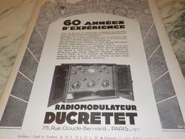 ANCIENNE PUBLICITE RADIOMODULATEUR  DUCRETET 1927 - Autres