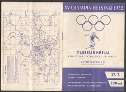 VV839 OLYMPIC GAMES HELSINKI 1952 DAILY PROGRAMME 27.07 - Programs