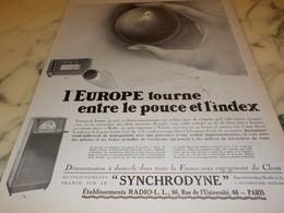 ANCIENNE PUBLICITE L EUROPE TOURNE RADIO LL 1927 - Autres