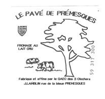 FROMAGE LE PAVE DE PREMESQUES NORD - ETIQUETTE VACHES ET ARBRE, BLASON - GAEC DES 3 CLOCHERS A PREMESQUES NORD - Fromage
