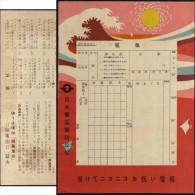 Japon 1940. Formulaire D'envoi De Télégramme, Avec Choix Du Message Au Verso. Vague De Tsunami, Soleil - Géologie