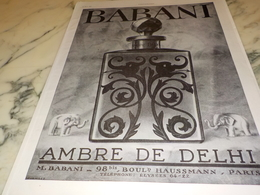 ANCIENNE PUBLICITE PARFUM D ORIENT DE BABANI 1927 - Parfum & Cosmetica