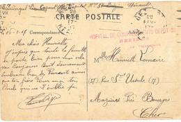 GUERRE 14-18 HOPITAL DE CONVALESCENTS DEPOT 38 BEZIERS HERAULT OMec GARCIA 26 FEVR. 17 - Marcophilie (Lettres)