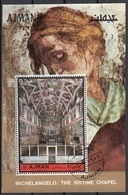 Ajman 1972 Bf. 406A Michelangelo Cappella Sistina - Sistine Chapel Sheet Perf. CTO - Ajman