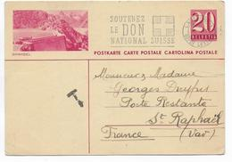 1942 - SUISSE - CP ENTIER POSTAL ILLUSTREE BILDPOSTKARTE (GRIMSEL) De LAUSANNE Avec TAXE => ST RAPHAËL POSTE RESTANTE - Stamped Stationery