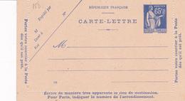 Carte Lettre Paix 65 C Outremer D1a Neuve - Biglietto Postale