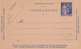 Carte Lettre Paix 65 C Outremer D1 Neuve - Biglietto Postale
