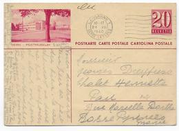 1940 - SUISSE - CP ENTIER POSTAL ILLUSTREE BILDPOSTKARTE (BERN) De LAUSANNE => PAU (BASSES PYRENEES) - Ganzsachen