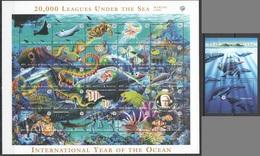D1016 ANTIGUA & BARBUDA FISH & MARINE LIFE 20000 LEAGUES UNDER THE SEA #2714-38 MICHEL 15,5 EURO BL+SH MNH - Vie Marine