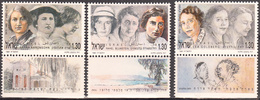 ISRAEL    SCOTT NO  1076-78     MNH    YEAR  1991   WITH TABS - Israel