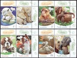 ROMANIA, 2019, ANIMALS EMOTIONS, Mammals, Bears, Monkeys, Dogs, Elephants, Set Of 4 + Label, MNH (**); LPMP 2262 - 1948-.... Repúblicas