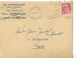 """Enveloppe Commerciale / 58 FOURCHAMBAULT - H COURBOULEIX - """"Aux Travailleurs"""" Tissus, Confections - France"""
