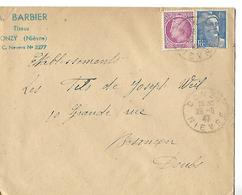 Enveloppe Commerciale 1947 / 58 DONZY / A. BARBIER Tissus - France