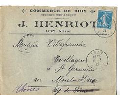 Enveloppe Commerciale 1922 / 58 LUZY / J HENRIOT / Commerce De Bois, Scierie Mécanique - France