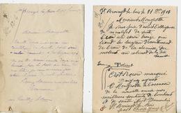 2 Cartes Lettres 1907-08 / 52 SAINT BROINGT LE BOIS / REMUAUX ? MIOT-DUMOULIN Pour Mougeotte MELAY - France