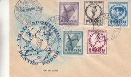Roumanie - Lettre De 1948 - Oblit Bucuresti - Avions - Football-boxe-ski-javelot-hockey-gymnastique-ahtlétisme-disque - Cartas
