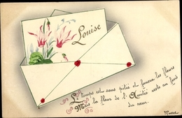 Buchstaben Cp Louise, Bild Eines Alpenveilchens In Einem Brief - Postales