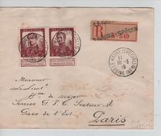 CBPND11/ TP 122(paire) Pellens S/L.recommandée Nom Gratté C.Le Havre Spécial 30/3/1915 > Militaire Secteur A Paris - Guerra '14-'18