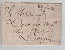 CBPND12/ Précurseur LAC An 9Griffe BRUGES 97 Port 4 > Douai Nord - 1794-1814 (Französische Besatzung)