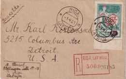 LETTONIE 1921  LETTRE RECOMMANDEE DE RIGA   AVEC CACHET ARRIVEE DETROIT - Lettland