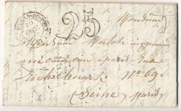 MEURTHE ET MOSELLE LAC 1853 SAINT NICOLAS DU PORT T14 ET TAXE 25 - Postmark Collection (Covers)