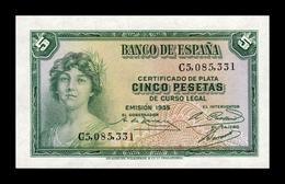España Spain 5 Pesetas República 1935 Pick 85 Serie C SC UNC - [ 2] 1931-1936 : Repubblica