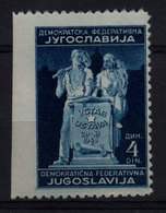 59. Yugoslavia 1945 Constitution 4d Imperforated At The Left Side MNH - 1945-1992 Repubblica Socialista Federale Di Jugoslavia