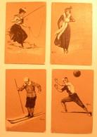 CPA / Lot De 4 Cartes Postales Anciennes Gaufrées (embossed) / Sport Par Arthur HEYER - Autres Illustrateurs