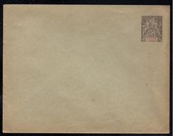"""SULTANAT D'ANJOUAN / 1900 ENTIER POSTAL 15 C. GRIS - ENVELOPPE AVEC DATE """"047"""" / ACEP # 8 (ref LE3893) - Lettres & Documents"""