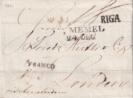 RUSSIE 1826 LETTRE FRANCO  DE RIGA POUR LONDON VIA MEMEL - ...-1857 Prefilatelia