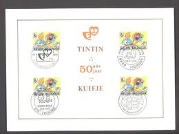 FDC TINTIN - KUIFJE (Hergé) 50 Ans / 50 Jaar - Timbre N°1944 X4 - 4 Cachets Différents - 1979 - ETAT Moyen Voir Scans - FDC