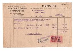 Facture Dommages De Guerre Entreprise Générale De Travaux Publics Et Particuliers Delcourt Frères à Etaples En 1944 - 1900 – 1949
