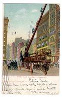 CPA Américaine Sapeurs Pompiers En Action Grande échelle Hook And Ladder éditeur Ill Post Card New York N°1945 - Sapeurs-Pompiers